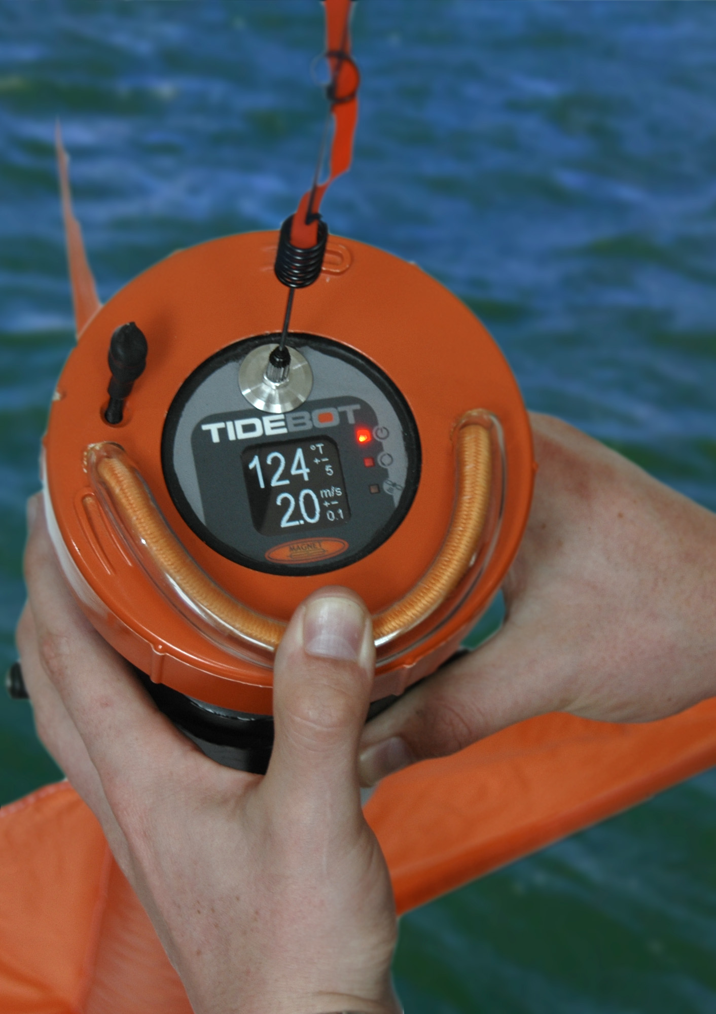 TideBot tide measurement system lying on side